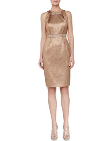 Carmen Marc Valvo Paisley Jacquard Beaded Cocktail Dress, Bronze