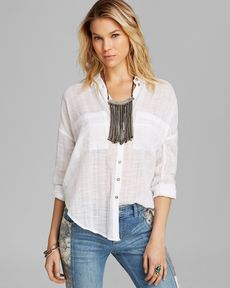Free People Top - Shibori Siren Button Down