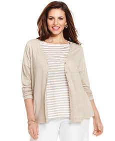 Charter Club Plus Size Linen Cardigan