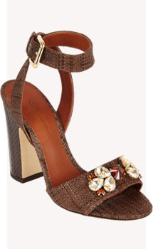 Dolce & Gabbana Jeweled Raffia Ankle-Strap Sandals