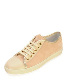 Suede and Leather Lace-Up Sneaker, Pale Pink/Nude   Suede and Leather Lace-Up Sneaker, Pale Pink/Nude