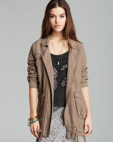 Free People Jacket - Rugged Embroidered Linen Twill