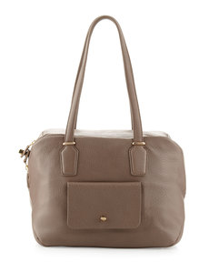 Etienne Aigner Preface Pebble Leather Large Satchel Bag, Slate