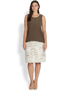 Lafayette 148 New York, Sizes 14-24 Printed Modern Slim Skirt
