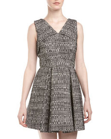 Robert Rodriguez Tweed Origami-Fold Dress, Ivory