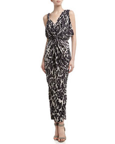 T Bags Leopard Print Twisted Maxi Dress