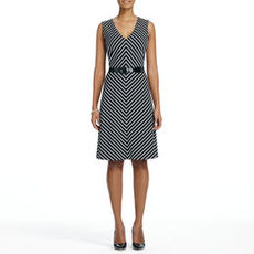 Sheath Dress with Mitered Stripes