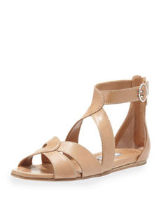 Napa Crisscross Flat Leather Sandal, Tan   Napa Crisscross Flat Leather Sandal, Tan