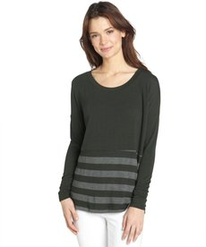 Three Dots forest green stretch striped pattern long sleeve boxy top