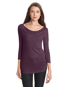 Michael Stars Women's 1x1 Slub 3/4 Sleeve Drape Neck Tee Shirt