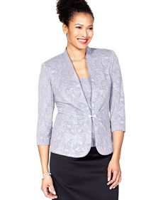 Alex Evenings Petite Jacket Set, Three-Quarter-Sleeve Printed Metallic Jacket & Shell