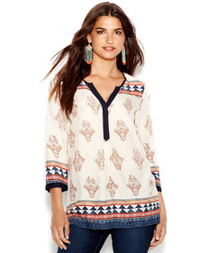 Lucky Brand Mixed-Print Tunic