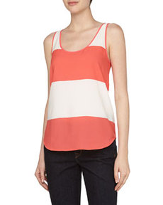 French Connection Wide-Stripe Flowy Tank, White/Party Pink