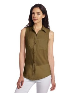 Michael Stars Women's Sleeveless Volie Front Button Down Shirt