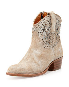 Deborah Studded Short Boot, White   Deborah Studded Short Boot, White