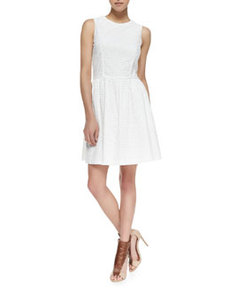French Connection Sunflower Eyelet Fit-And-Flare Dress, Winter White