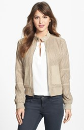 Kenneth Cole New York Perforated Faux Suede Bomber Jacket (Regular & Petite)