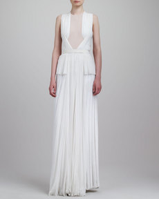 Jason Wu Sheer-Inset Pleated Peplum Gown, Ivory