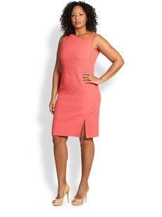 Marina Rinaldi, Sizes 14-24 Sleeveless Jacquard Dress