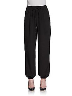 Saks Fifth Avenue BLACK Drawstring Track Pants