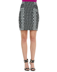Laury Honeycomb-Print Pencil Skirt   Laury Honeycomb-Print Pencil Skirt