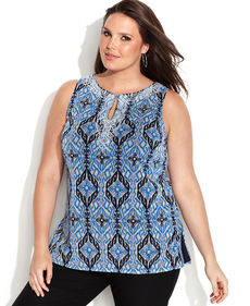 INC International Concepts Plus Size Sleeveless Ikat-Print Kurta Top