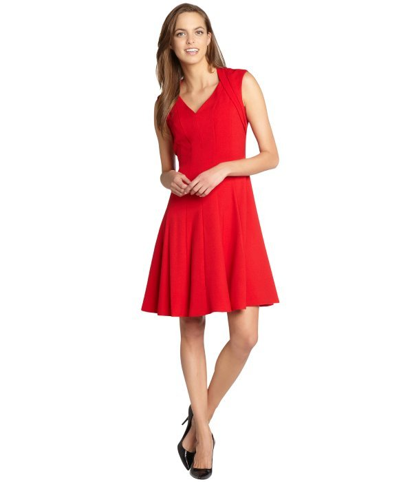 Calvin Klein red cap sleeve swing dress