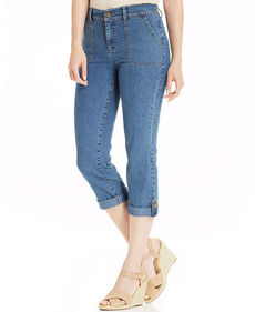 Charter Club Roll-Tab Cropped Jeans, Antique Indigo