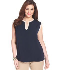 Jones New York Collection Plus Size Sleeveless Colorblocked Top