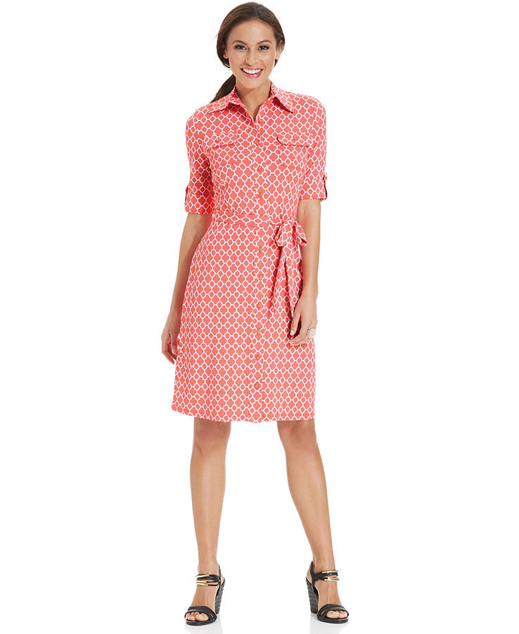 Charter Club Petite Three-Quarter-Sleeve Printed Belted Shirtdress