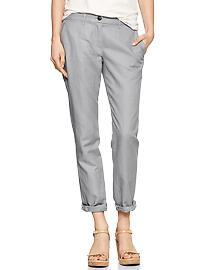 Broken-in straight linen pants
