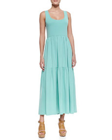 Joan Vass Tiered Long Tank Dress, Spearmint