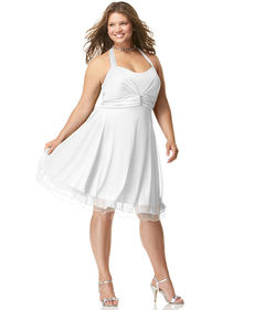 Ruby Rox Plus Size Halter Rhinestone-Pin Dress