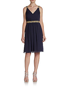 Calvin Klein Embellished Grecian Cocktail Dress