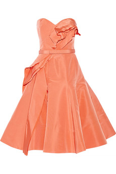 Oscar de la Renta Ruffled silk-twill dress