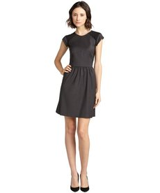 Rebecca Taylor charcoal ponte cap sleeve dress