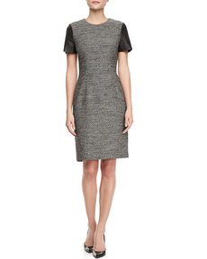 Jason Wu Leather Cap-Sleeve Tweed Sheath Dress