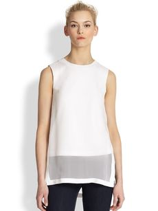 Robert Rodriguez Silk Chiffon Sheer-Overlay Top