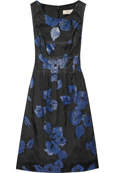 Lela Rose Embroidered silk-blend dress