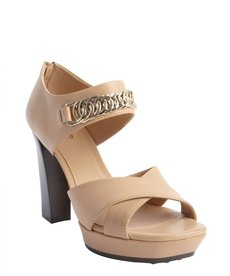 Tod's nude leather chain link heel sandals
