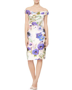 Lela Rose Draped Off-Shoulder Floral Dress