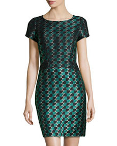 Lafayette 148 New York Gwendoline Jacquard Dress, Cove/Multi
