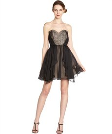A.B.S. by Allen Schwartz black lace and silk chiffon strapless overlay dress