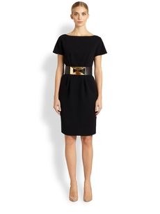St. John Cap-Sleeve Boatneck Dress