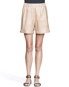 Brunello Cucinelli Nappa Leather Midi Shorts