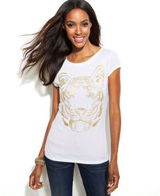 INC International Concepts Cap-Sleeve Sequin-Tiger Tee
