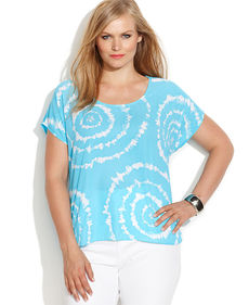 INC International Concepts Plus Size Embellished Tie-Dye Tee