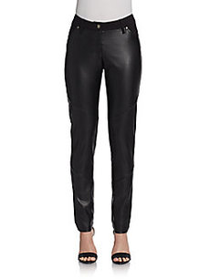 Saks Fifth Avenue BLACK Vegan-Leather Paneled Pants