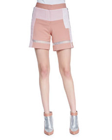 Patchwork Sheer-Strip Shorts   Patchwork Sheer-Strip Shorts