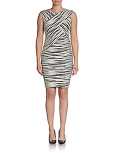 Calvin Klein Printed Textured Bandage Dress